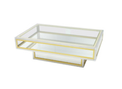 Vitrine Coffee Table In Chrome Brass And Glass France 70s Messing Tisch Glas 70er