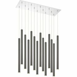 Z-lite Forest 14 Light Steel Led Island Pendant In Pearl Black And Chrome