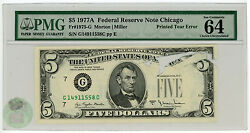 1977-a 5 Federal Reserve Note Printed Tear Error Pmg 64 Choice Chicago - Ke267