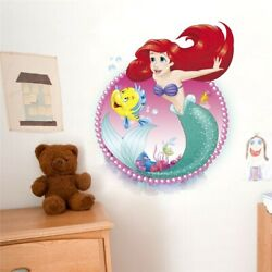 3D Cartoon Mermaid Ariel Princess With Fish Wall Stickers For Girls Room A009