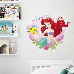 3D Cartoon Mermaid Ariel Princess With Fish Wall Stickers For Girls Room A011