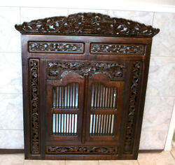 44 3/4 H Vintage Indonesian Carved Hard Heavy Wood Window Shutter Wall Mirror