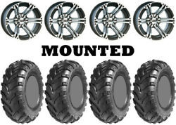 Kit 4 Ams Swamp Fox Tires 25x8-12/25x10-12 On Itp Ss212 Machined Wheels Fxt