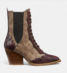 Coach Lace Up Booties Signature Canvas And Snake Detail Size Us 55b Eur 36 New