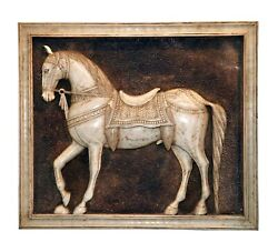 Vintage Hand Carved Marble Stone Horse Wall Panel Mughal Style Home Decorative