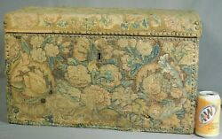 Antique 17th Century Verdure Tapestry Lady's Box Chest Flemish Wrought Iron Old