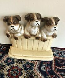 Vintage Cast Iron Doorstep 3 English Terrier Puppies By John Wright