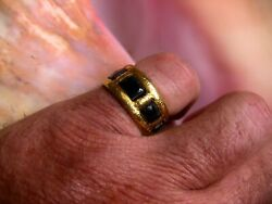 24k Gold And Black Coral Nautical Ring