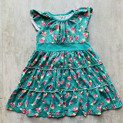 TEA COLLECTION Toddler Kids Girls Vintage Green Floral Ruffle Dress Cute Size 4T $10.99