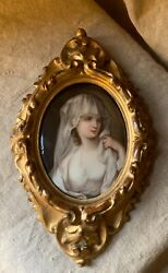 Antique 19th Century Berlin Kpm Plaque Of Young Virgin Woman With White Viel