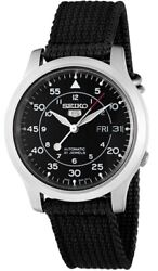 Seiko Menand039s Snk809 Seiko 5 Automatic Stainless Steel Watch With Black Canvas St