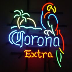 Neon Signs Corona Extra Parrot Palm Beer Bar Pub Store Room Wall Decor 24x20