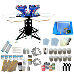 6 Color 6 Station Screen Printing Kit Silk Press Prrinter And Ink Squeegee Supply