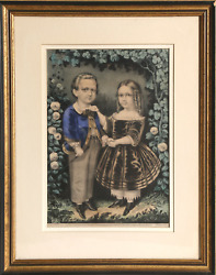 Currier And Ives, Boy And Girl, Hand-colored Lithograph