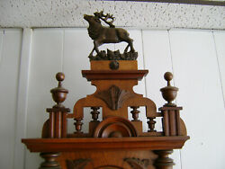 Rare Black Forest Clock With Elk 41 Inches Overall Height 8 Day Movement Running