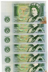 Bank Of England One Pound Lot Of 7 Consecutive Notes Sommerset Au/unc Uk Spots