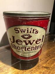 Old Large Swifts Jewel Shortening Can Tin Canada With Lid Nice Vintage Bijou