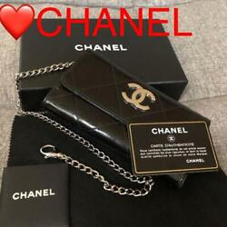 Enamel Chain Wallet Black Vintage From Japan Free Shipping