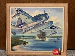 1943 Wwii Era Coca Cola Coke Picture Of Us Navy Os2u Observation Scout 15 X 13