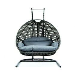 Leisuremod Modern Charcoal Wicker Hanging Double 2 Person Egg Swing Chair