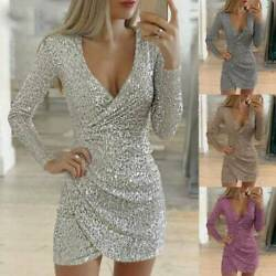 Women's Glitter Sequins Evening Party Mini Dress Bodycon Cocktail Wrap V Neck $20.80