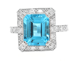6.60 Carats Natural Swiss Blue Topaz And Diamond 14k Solid White Gold Ring
