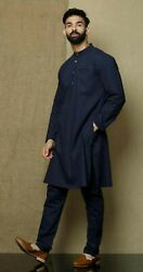 Solid Navy Blue Color Traditional Shirts Top Shirt Solid Mens Wear Cotton Kurta