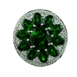 Green Chrome Diopside Gemstone 10k White Gold Ring   A Precious Gift For Her