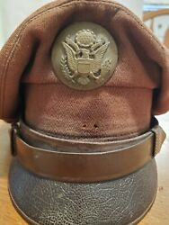Ww2 Us Army Mililtary Officer Green Felted Wool Cavalry Dress Hat Cap 6 5/8