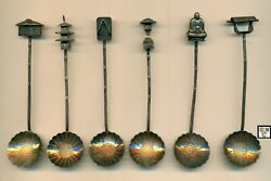 Set Of 6 Sterling Silver Demitasse Spoons Made In Japan C.1940and039s Wt - 40gr.