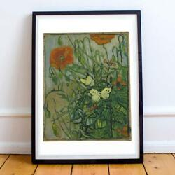Van Gogh Dutch Post-impressionism Butterflies And Poppies 22x28 Inches