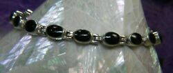 Onyx And Marcasite Reversible 0.925 Sterling Silver Estate 7 1/2 X 3/16 Bracelet