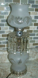 Vintage Pressed Glass Art Deco Table Lamp W/frosted Glass Shade/prisms 15