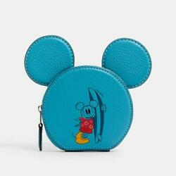 Unused Coach Japan Exclusive Disney Coin Pouch Blue Mickey Mouse Free Shipping