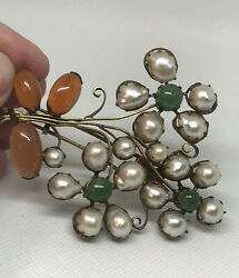 Huge Old Chinese Baroque Pearl Carnelian Jade Flower Clip/ Pin - Wow 3 1/2 H