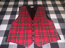 Mens Made Especially For You Red Party Vest Punk Rock Button Vest