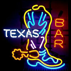 Neon Signs Gift Texas Bar Boot Beer Bar Store Party Room Wall Decor 24x20
