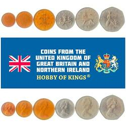 Set Of 6 Coins From United Kingdom 1/2, 1, 2, 5, 10, 50 New Pence. 1968-1981