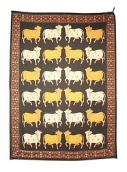 Vintage Handcrafted Wall Hanging Pichwai Thread Hand Work Cows Home Decorative U