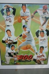 300 Wins Poster Autographed By 8 Pitchers Steiner Coa Seaver Ryan And 6 More