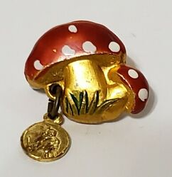 Vtg Red Mushrooms With Religious Disc Charm Lapel Pins 6/8 X 4/8 Signed Italy
