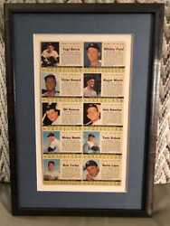 1961 Post Cereal New York Yankees Uncut Team Sheet Archival Framed No Adhesive