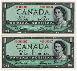 Bank Of Canada 1954 1 Low Serial Number Consecutive Pair Under 100 Gem Unc Rare
