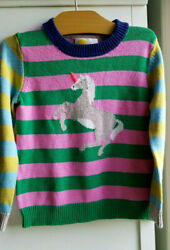 Mini Boden Girls Striped Unicorn Sweater Multicolor Size 5 6 24002B