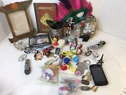 Vintage Junk Drawer Lot Misc Items Toys Collectibles Knives Military Pin Mcds