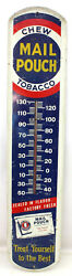 Vintage Chew Mail Pouch Tobacco Metal Advertising Thermometer 39 X 8 Sign
