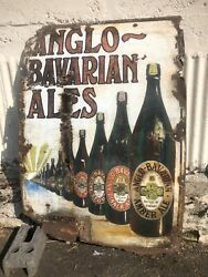 Xl Antique Enamel Advertising Sign Pub Anglo Bavarian Ales Stout Beer Free Pp