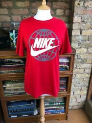 Nike Size M Age 10-12 Red T-shirt With Tick And Grey Design On Front