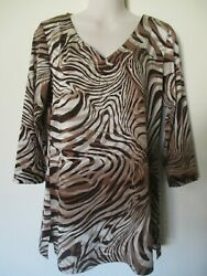 Womens Chico Tiger Animal Type Print Style Top 3/4 Sleeve Size 1 Beige Brown Euc