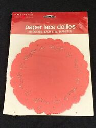 Vintage Red Paper Lace Doilies 6 American Greetings Forget Me Not Crafts